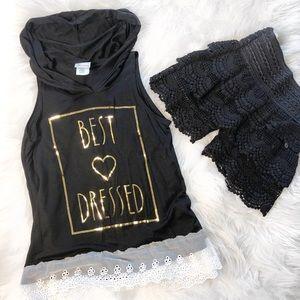 "Other - Girls ""Best Dressed"" foil hooded short sleeve top"